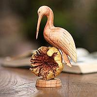 Wood sculpture, 'Single Crane' - Hand-Carved Jempinis Wood Crane Sculpture from Bali