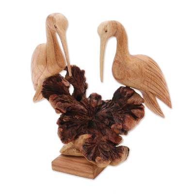 Wood sculpture, 'Crane Couple' - Hand-Carved Jempinis Wood Crane Couple Sculpture from Bali