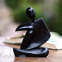 Wood sculpture, 'Deep Thinking' - Abstract Black Suar Wood Sculpture from Indonesia