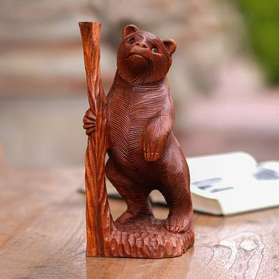 Wood sculpture, 'Curious Bear' - Hand-Carved Suar Wood Bear Sculpture from Bali