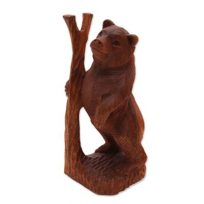 Hand-Carved Suar Wood Bear Sculpture from Bali