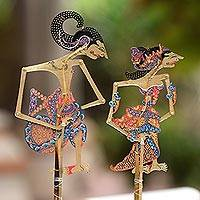 Leather shadow puppets, 'Arjuna and Srikandi' (pair) - Leather Shadow Puppets of Arjuna and Srikandi (Pair)