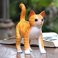 Wood sculpture, 'Curious Kitten in Orange'