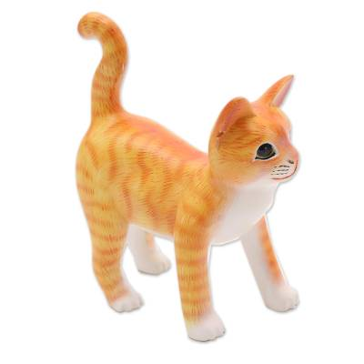 Wood sculpture, 'Curious Kitten in Orange' - Wood Standing Cat Sculpture in Orange and White from Bali