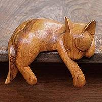Wood sculpture, 'Snoozing Cat' - Natural Finish Suar Wood Sleeping Cat Sculpture from Bali