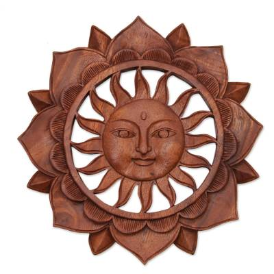 Wood relief panel, 'Sun Flower' - Floral Sun-Themed Suar Wood Relief Panel from Bali