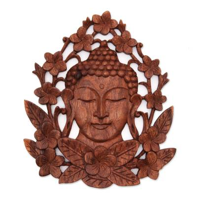 Wood relief panel, 'Flowery Buddha' - Floral Buddha-Themed Suar Wood Relief Panel from Bali