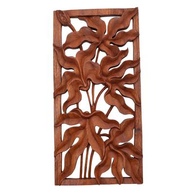 Wood relief panel, 'Deep Forest' - Leafy Rectangular Suar Wood Relief Panel from Bali