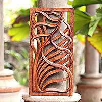 Wood relief panel, 'Lovely Tendrils' - Tendril Motif Suar Wood Relief Panel from Bali