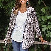 Rayon kimono jacket, 'Nebula in Pewter' - Rayon Kimono Jacket in Pewter from Bali