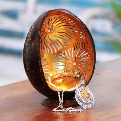 Coconut shell catchall, 'Golden Fireworks' - Firework Pattern Coconut Shell Catchall from Bali