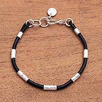 Leather and sterling silver plate beaded cord bracelet, 'Banded Snake' - Sterling Silver Plated Brass and Leather Bracelet