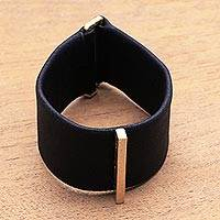 Leather wristband bracelet, 'Contemporary Line' - Leather and Brass Wristband Bracelet from Bali