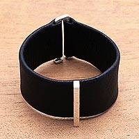 Leather and sterling silver plated brass wristband bracelet, 'Contemporary Line' - Leather and Sterling Silver Plated Brass Wristband Bracelet