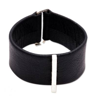 Leather and Sterling Silver Plated Brass Wristband Bracelet