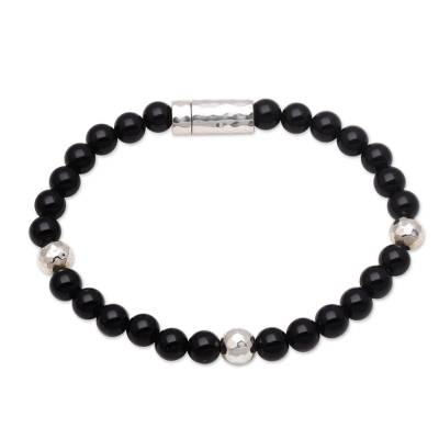 Onyx beaded bracelet, 'Hammered Beauty' - Onyx and Hammered Silver Beaded Bracelet from Bali