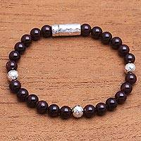 Garnet beaded bracelet, 'Hammered Beauty' - Garnet and Hammered Silver Beaded Bracelet from Bali
