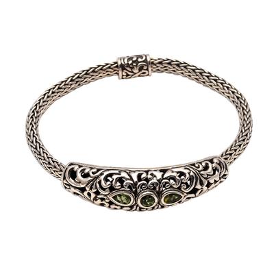 Peridot pendant bracelet, 'Warrior Queen' - Faceted Peridot Pendant Bracelet from Bali