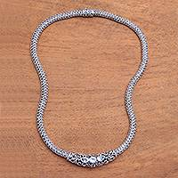 Blue topaz pendant necklace, 'Warrior Queen'