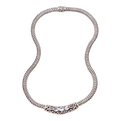 Blue topaz pendant necklace, 'Warrior Queen' - Faceted Blue Topaz Pendant Necklace from Bali