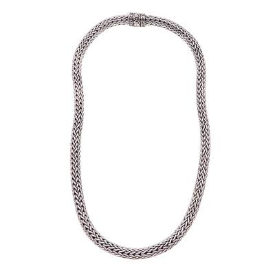 Sterling silver chain necklace, 'King's Order' - 18-Inch Sterling Silver Foxtail Chain Necklace from Bali
