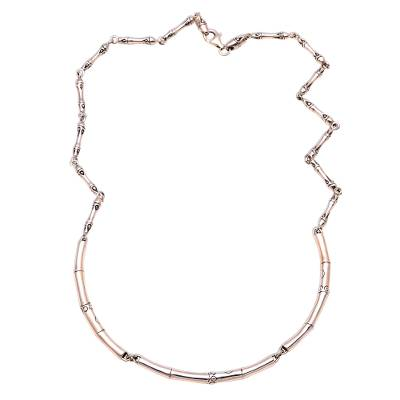 Sterling silver link necklace, 'Bamboo Stalks' - Bamboo Pattern Sterling Silver Link Necklace from Indonesia
