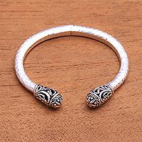 Sterling silver cuff bracelet, 'Glorious Swirls' - Swirl Pattern Sterling Silver Cuff Bracelet from Bali