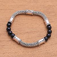 Onyx and sterling silver beaded chain bracelet, 'Agreeable Union'