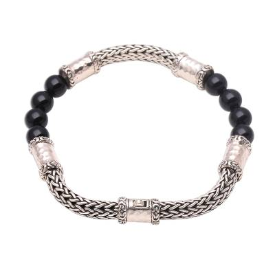Onyx and sterling silver beaded chain bracelet, 'Agreeable Union' - Onyx and Sterling Silver Beaded Chain Bracelet from Bali