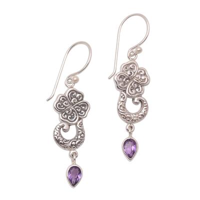 Floral Amethyst Teardrop Dangle Earrings from Bali
