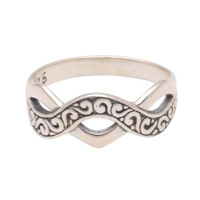 Curl Pattern Sterling Silver Band Ring from Bali
