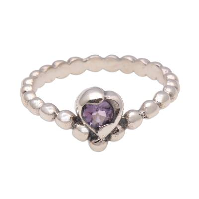 Dot Pattern Amethyst Solitaire Ring from Bali
