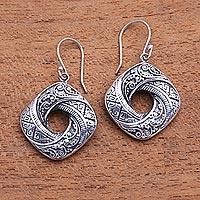 Sterling silver dangle earrings, 'Rich Songket' - Songket Pattern Sterling Silver Dangle Earrings from Bali