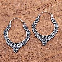 Sterling silver hoop earrings, 'Singaraja Bliss' - Patterned Sterling Silver Hoop Earrings from Bali