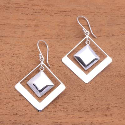 Sterling silver dangle earrings, 'Square Within' - Modern Square Sterling Silver Dangle Earrings from Bali