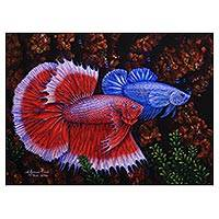 'A Couple of Mature Betta Fish' - Signed Painting of Red and Blue Betta Fish from Bali