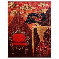 'King Without Crown' - Cultural Surrealist Landscape Painting in Red from Java