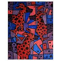 'Three Best Friends' - Dog-Themed Red and Blue Cubist Painting from Java