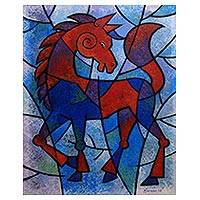 'Bejo, The Mighty Horse' - Red and Blue Expressionist Horse Painting from Java