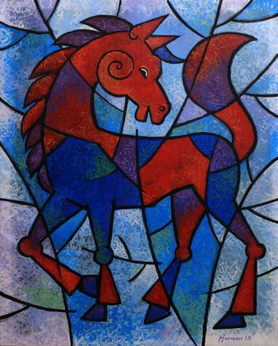 Red and Blue Expressionist Horse Painting from Java