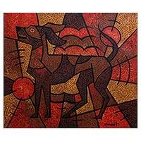 'Shiba, The Clever Dog' - Signed Cubist Painting of a Dog from Java