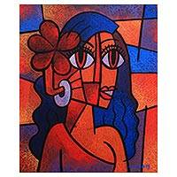 'Niluh Chandini' - Signed Cubist Portrait Painting from Java