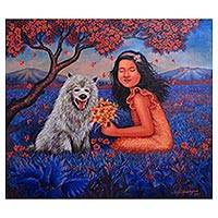 'Friendship' - Signed Realist Painting of a Girl and a Dog from Bali