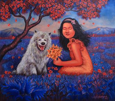 Signed Realist Painting of a Girl and a Dog from Bali