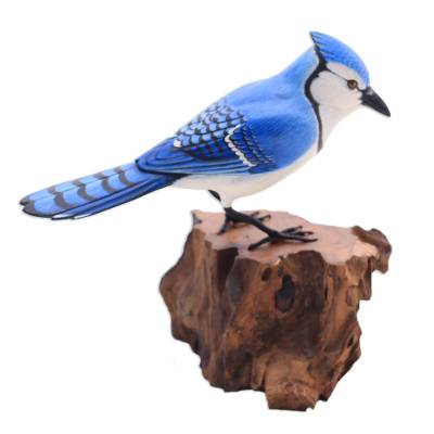Wood sculpture, 'Perched Blue Jay' - Hand-Painted Wood Blue Jay Sculpture from Bali