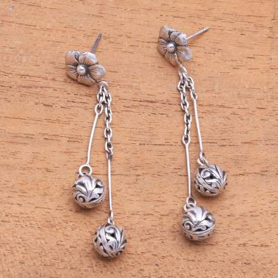Sterling silver dangle earrings, 'Flowery Dew' - Floral Sterling Silver Dangle Earrings Crafted in Bali