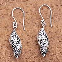 Sterling silver and cultured pearl dangle earrings, 'Traditional Snails' - Sterling Silver and Cultured Pearl Snail Earrings from Bali