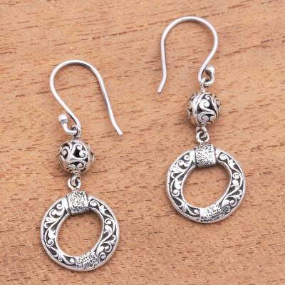 Sterling silver dangle earrings, 'Traditional Wreaths' - Circular Sterling Silver Dangle Earrings Crafted in Bali