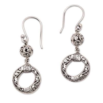 Circular Sterling Silver Dangle Earrings Crafted in Bali