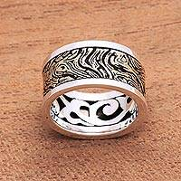 Men's sterling silver and brass band ring, 'Sandstorm'